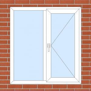 ПВХ  Окно  3-кам 58 мм Goodwin размер 1200*1300 мм. №101