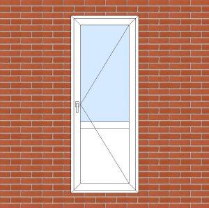 ПВХ  Балконная дверь  3-кам 58 мм Goodwin размер 800*2100 мм. №110