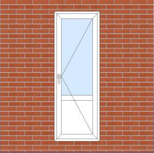 ПВХ  Балконная дверь  3-кам 58 мм Goodwin размер 700*2000 мм. №133
