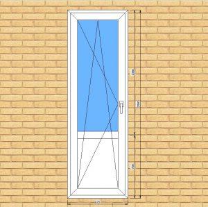 ПВХ  Балконная дверь  5-кам 70 мм Goodwin размер 670*2080 мм. №БУГ1