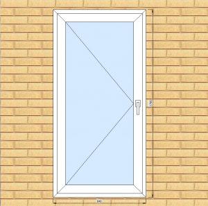ПВХ  Окно  3-кам 58 мм Goodwin размер 840*1700 мм. №БУГ2