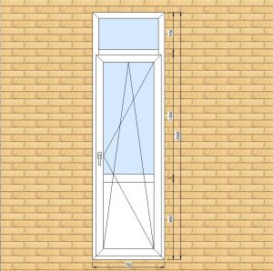 ПВХ  Балконная дверь  3-кам 58 мм Goodwin размер 750*2580 мм. №В1