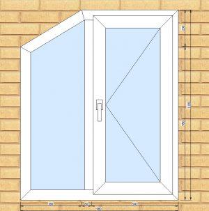 ПВХ  Окно  3-кам 58 мм Goodwin размер 980*1180 мм. №ГАВ1