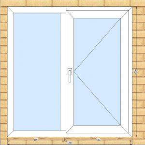 ПВХ  Окно  3-кам 58 мм Goodwin размер 1200*1250 мм. №НОВ1