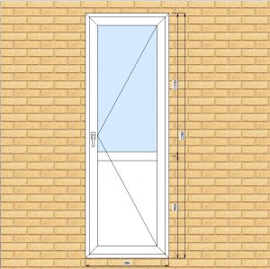 ПВХ  Балконная дверь  3-кам 58 мм Goodwin размер 780*2280 мм. №Ц1