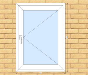ПВХ  Окно  3-кам 58 мм Goodwin размер 750*1050 мм. №Гри1