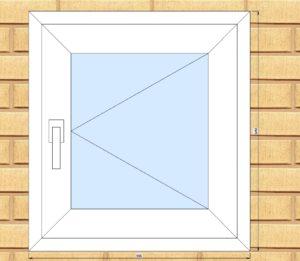 ПВХ  Окно  3-кам 58 мм Goodwin размер 590*640 мм. №Ян6