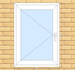 ПВХ  Окно  3-кам 58 мм Goodwin размер 750*1050 мм. №Гри5