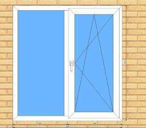 ПВХ  Окно  3-кам 58 мм Goodwin размер 1360*1440 мм. №Рег2